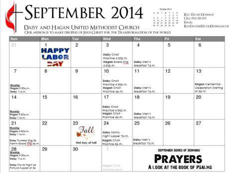 Daisy Hagan Sept Calendar